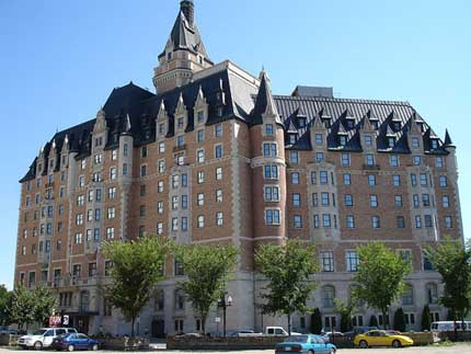The front of the Delta Bessborough Hotel in Saskatoon