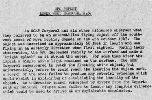 Shag Harbour UFO Memo